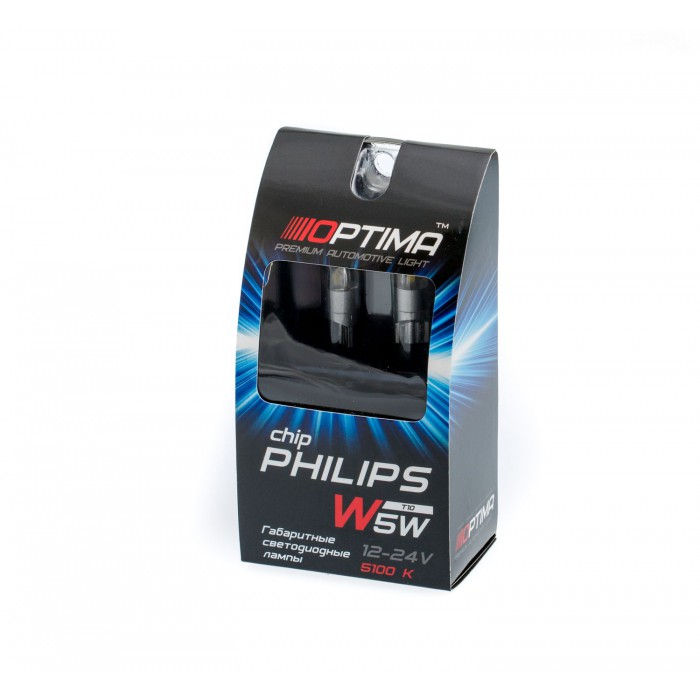 Светодиодная лампа W5W (T10) Optima Premium PHILIPS Chip 2, 4200K, 12V